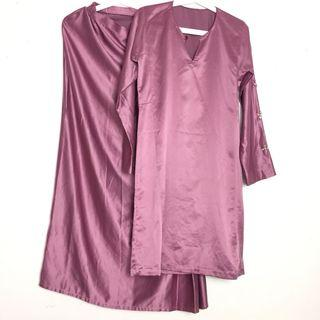 Baju Kurung Moden Tailor Made Modern Satin Pink Batu Diamond Simple Plain Baju Raya
