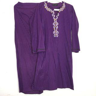 Baju Kurung Purple Deep Dark Purple Stripes Manik Batu Plain Baju Raya Moden Cotton Baju Kurung