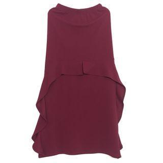 Skirt Maroon Ruffle Skirt Mermaid Skirt Kain Petite Size Waistband Full