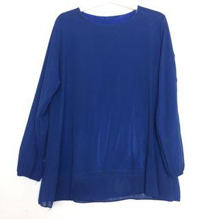 Chiffon Electric Royal Blue Silk Inner Workwear Plain Baju Skirt Blouse Top Muslimah Fashion Korean Style