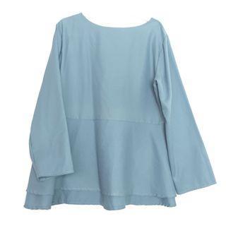 Blouse Top Peplum Blue Sky Biru Top Shirt Workwear Casual Korean Look Muslimah Fashion Style Blouse