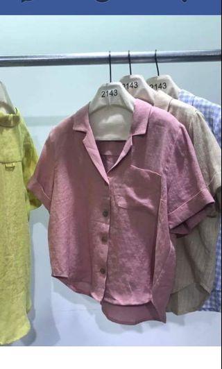 2143棉麻短版粉紅襯衫