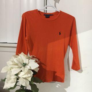 Orange Ralph Lauren 3/4 sleeve