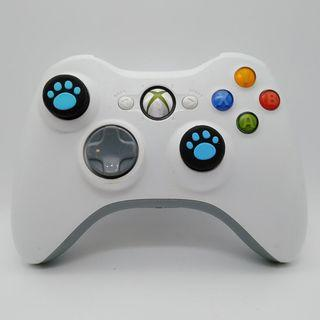 Xbox 360 Wireless White Controller with Two New Blue Thumb Grips and a new Battery Pack