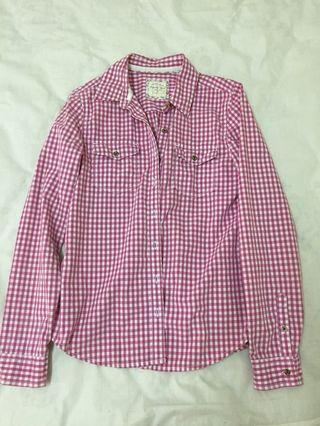 🚚 粉紅格子襯衫
