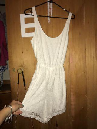 Hollister white lace jumpsuit