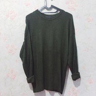 [Free Ongkir] Army Oversized Sweater / Boxy Sweater