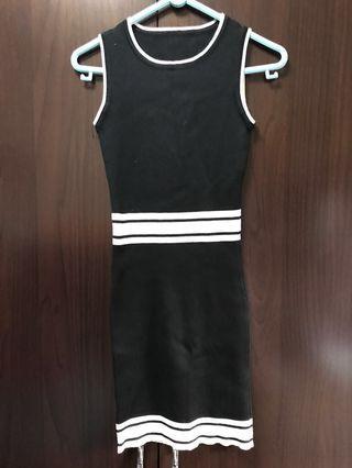 New Black Dress with stripes