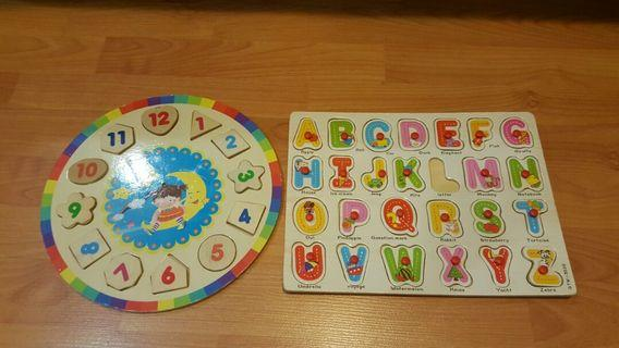 wooden alphabet& number puzzles