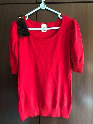 New Red TOP with black lace