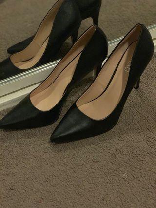 Verali Black Leather Stilettos