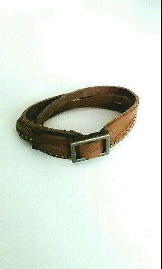 Brown Faux Leather Multi-Layered Bracelet with Buckle & Studs