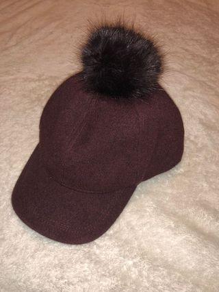 Dark purple Hat with Pom pom