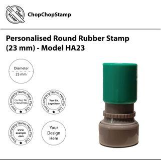 🚚 Personalised Round Rubber Stamp (23 mm) / Custom-made / Company Stamp / Self-inking / Pre-inked