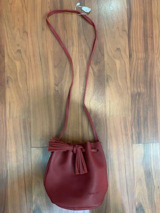 Brand New Red Leather Sling Tassel Bag