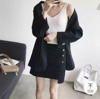 🚚 黑色不規則A字裙