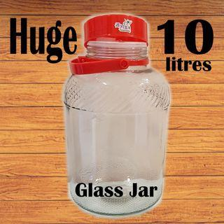 🚚 Huge glass Jar - 10 litres container air-tight for liquid water powder wine Air tight jars / Food storage / Mason jar / Glassware/ Water flask/ Fruit Juice/ Cocktail used only once