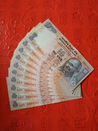 10 PCS INDIA 10 RUPEES GOLDEN LOW S/N 42N 000061-70 RUN UNC