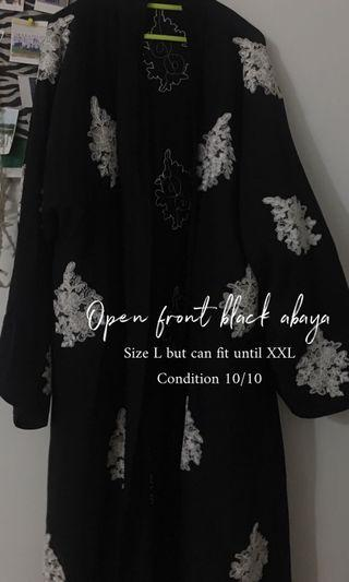 Open front black abaya with full white lace