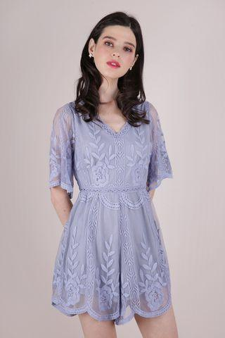 Miki Mesh Embroidery Romper (Periwinkle)