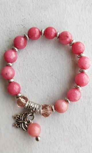 Pink Gemstone 10 mm Bracelet - HandMade