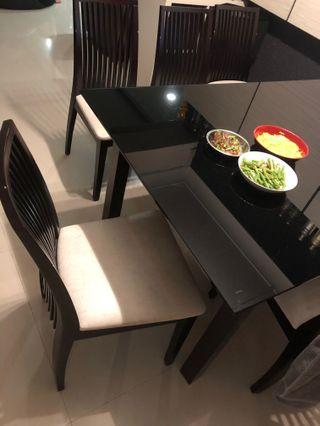 Dining Table + Top Tempered Glass + Chairs