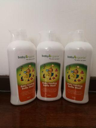 Baby Organix Feeding Bottle Wash - 3 bottles
