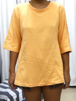 Zara Orange Wide 3/4 Sleeve Top - Small