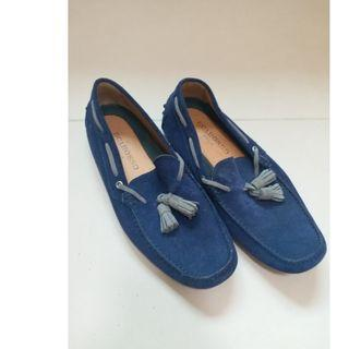 Scarosso Blue Suede Leather Shoes Size 40