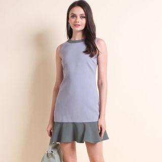 BN Neonmello Ariella Colourblock Flutters Hem Work Dress in Grey-Sage