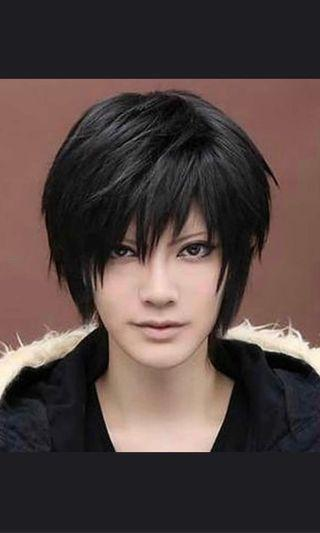 🚚 Black Wig Male 30cm Cosplay