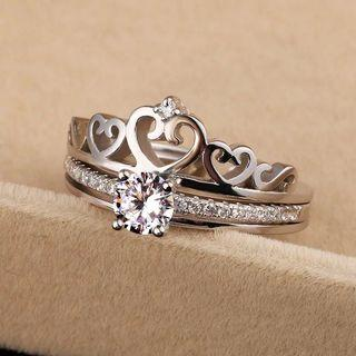 925 Sterling Silver Crown 2 in 1 Diamond Engagement Ring