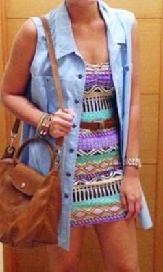 Denim long Sleeveless top/ Mini dress