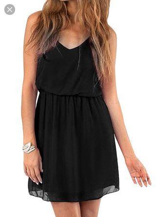 Mango Black chiffon Double Layer Dress