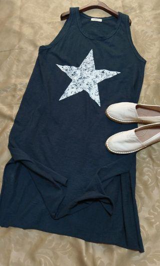 (正韓)原價:1780 墨綠星星圖案休閒長版寬鬆洋裝