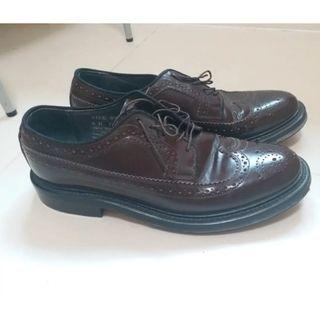 Sears Burgundy Brogue Leather Shoes Good Year Wetted