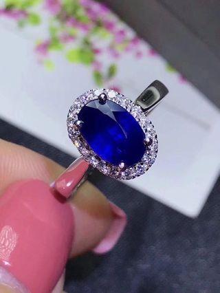 18k金 藍寶石鑽石戒指