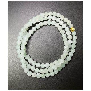 🚚 天然缅甸冰种翡翠108颗珠链 (Natural Untreated Burma Icy Jadeite Necklace)