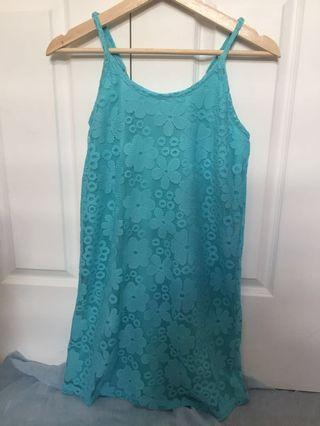 Turquoise dress with lace overlay