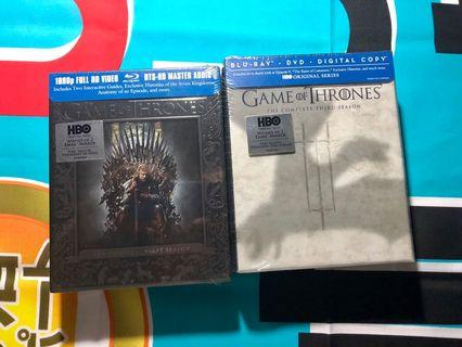 Game of Thrones Season 1 and 3 Blu-Ray