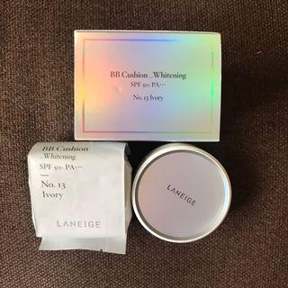 New Laneige BB Cushion Whitening SPF 50++ No. 13 Ivory plus refill (free sleeping care kit)