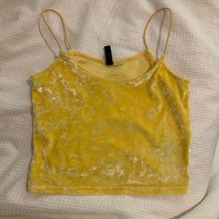 yellow velvet cropped top