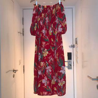 TEMT Valleygirl Floral Maxi Off Shoulder Dress