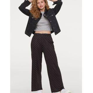 H&M WIDE JERSEY TROUSERS POLKA