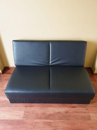 Reduced Price!!! Black Leather Sofa Bed