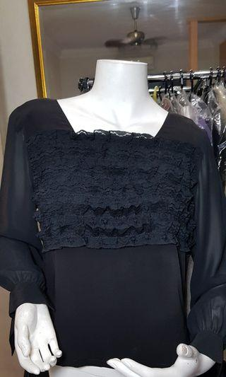 Black back buttons lace trimmed top