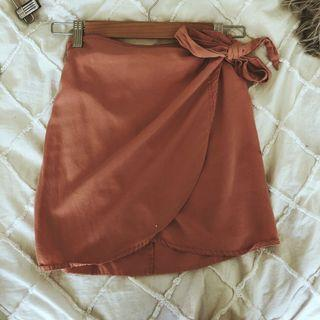 Peach wrap skirt