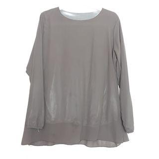 Blouse Grey Chiffon Silk Inner Muslimah Top Shirt Workwear Korean Look Trendy