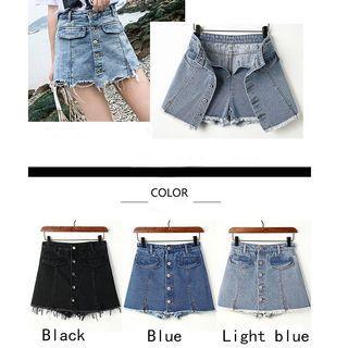High Waist Denim Skirt Short