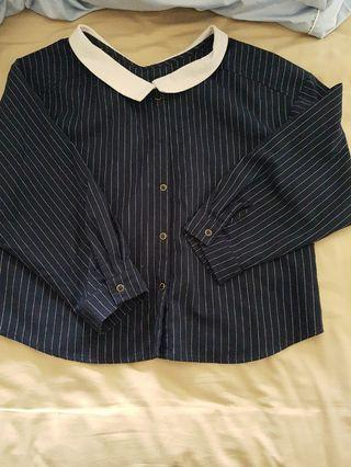🚚 寬鬆 直條紋 藍色 one size 長袖 9分袖襯衫